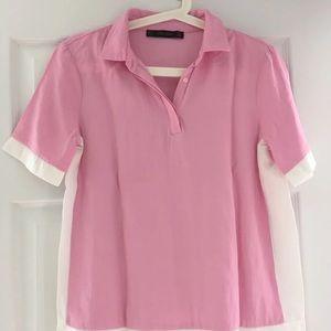 Zara pink collar blouse top Sz S